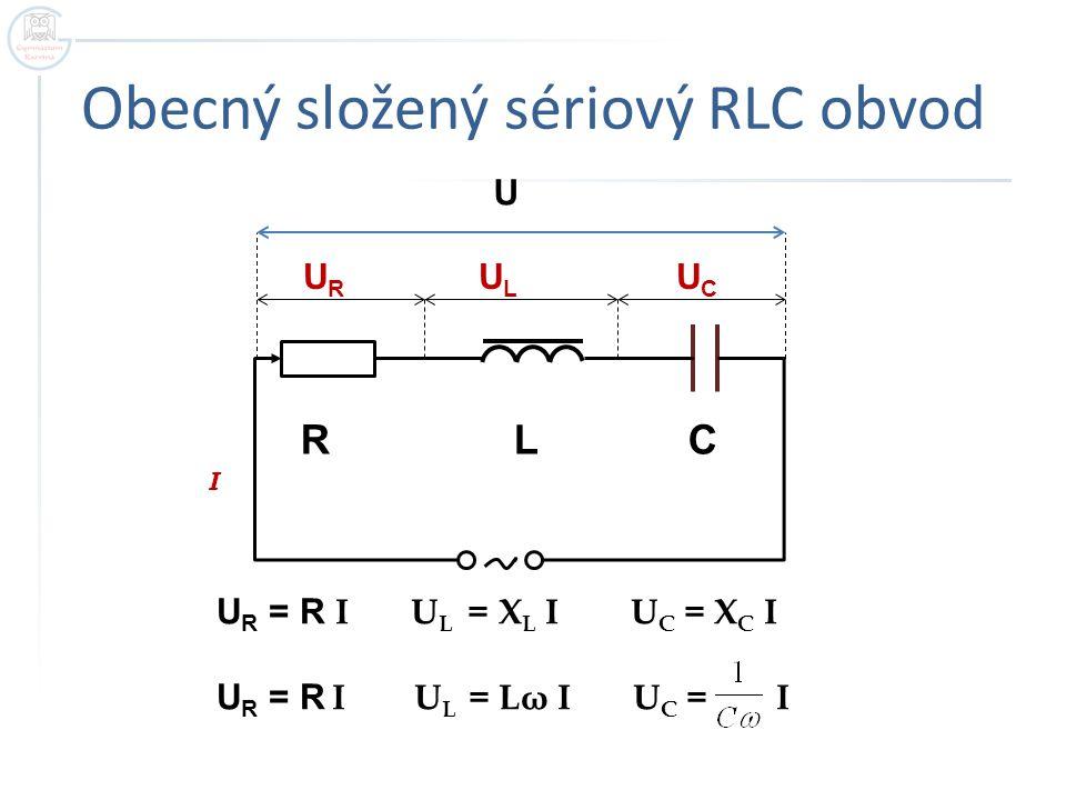 Obecný složený sériový RLC obvod R L C I U R U L U C U U R = R I U L = X L I U C = X C I U R = R I U L = Lω I U C = I