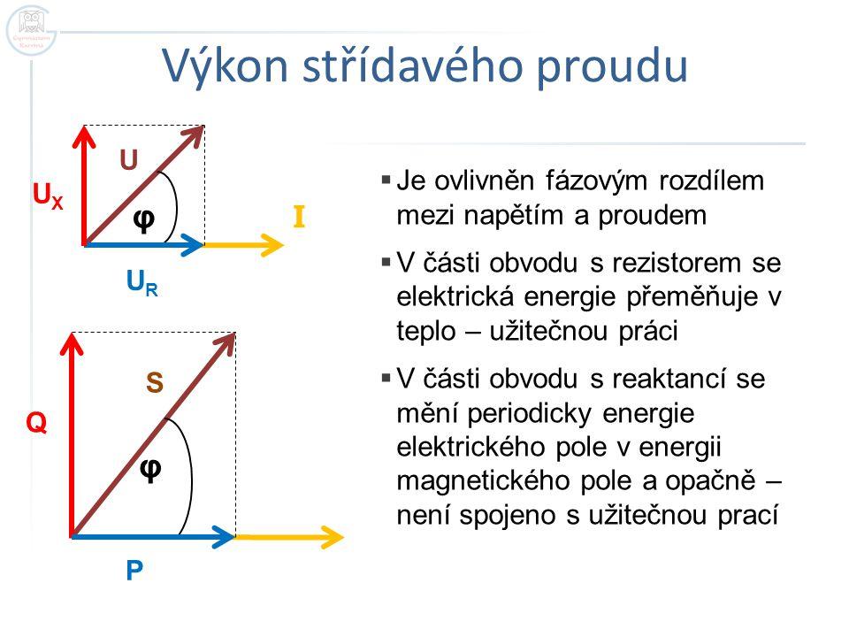 Jednotlivé výkony střídavého proudu  Činný výkon… P - jednotka… watt…W souvisí s energií,která se mění nenávratně v jiné druhy energií – s užitečnou prací P= U I cosφ, cos φ - účiník  Jalový výkon..