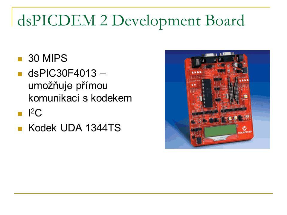 dsPICDEM 2 Development Board 30 MIPS dsPIC30F4013 – umožňuje přímou komunikaci s kodekem I 2 C Kodek UDA 1344TS