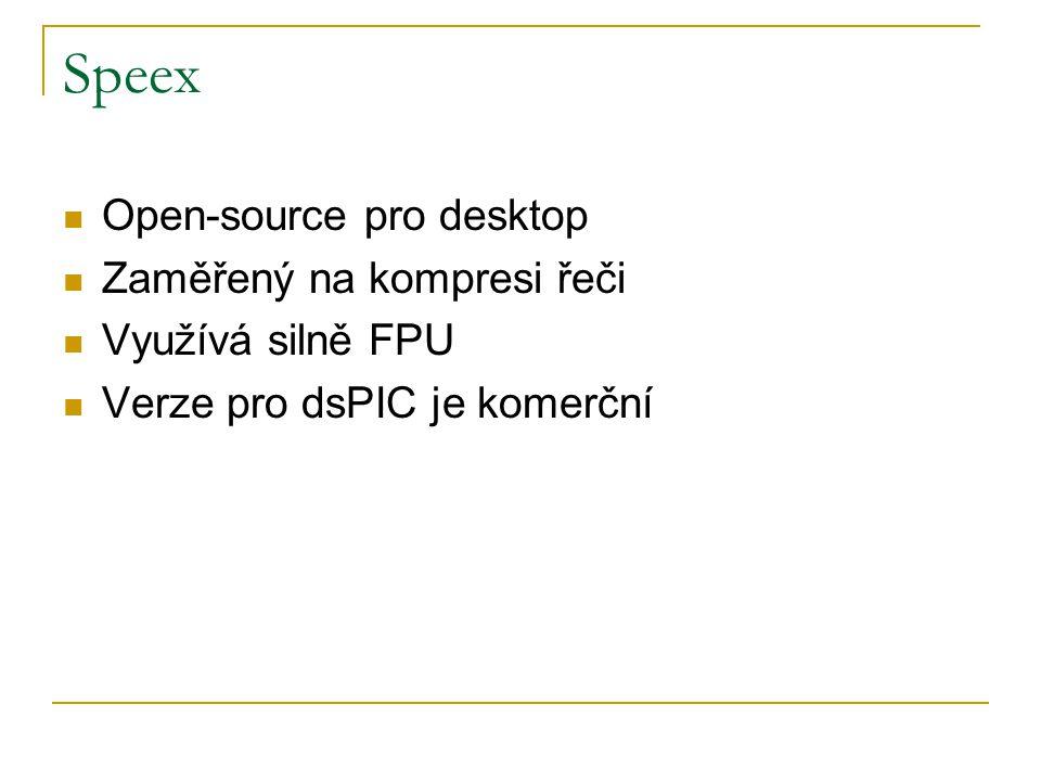 Speex Open-source pro desktop Zaměřený na kompresi řeči Využívá silně FPU Verze pro dsPIC je komerční