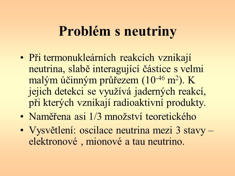 Problém s neutriny Při termonukleárních reakcích vznikají neutrina, slabě interagující částice s velmi malým účinným průřezem (10 -46 m 2 ). K jejich