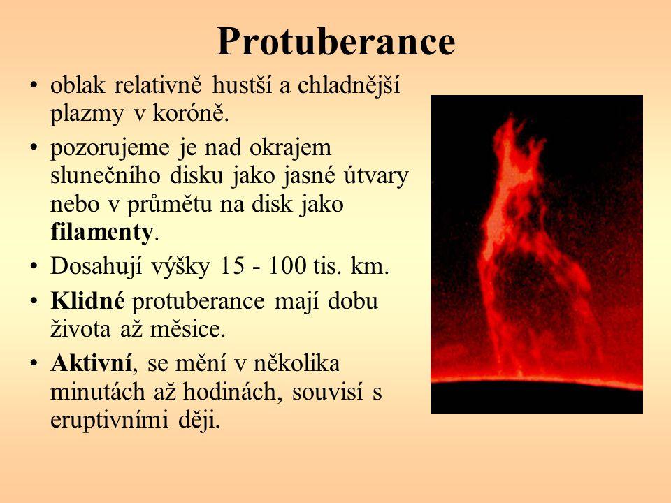 Protuberance oblak relativně hustší a chladnější plazmy v koróně. pozorujeme je nad okrajem slunečního disku jako jasné útvary nebo v průmětu na disk