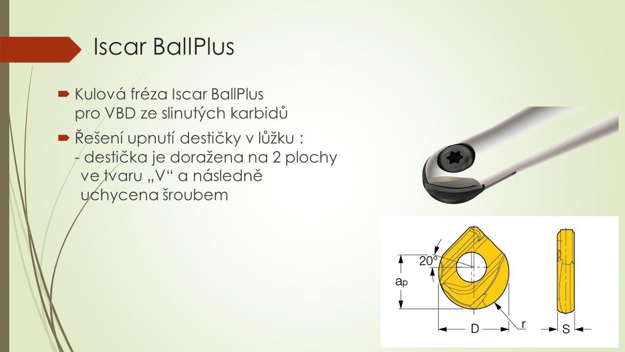 """Iscar BallPlus  Kulová fréza Iscar BallPlus pro VBD ze slinutých karbidů  Řešení upnutí destičky v lůžku : - destička je doražena na 2 plochy ve tvaru """"V a následně uchycena šroubem"""
