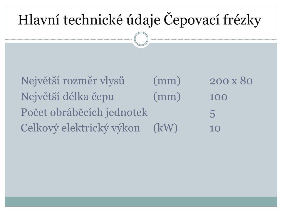 Hlavní technické údaje Čepovací frézky Největší rozměr vlysů(mm)200 x 80 Největší délka čepu(mm)100 Počet obráběcích jednotek5 Celkový elektrický výko