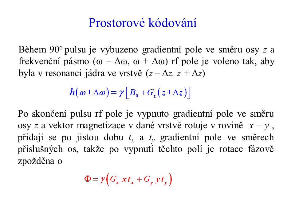 Prostorové kódování Během 90 o pulsu je vybuzeno gradientní pole ve směru osy z a frekvenční pásmo (ω – Δω, ω + Δω) rf pole je voleno tak, aby byla v