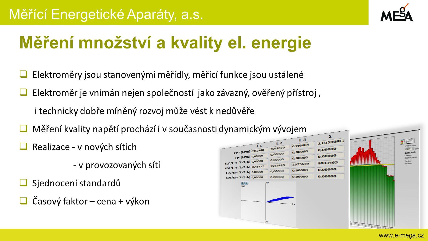 Měřící Energetické Aparáty, a.s. www.e-mega.cz Měření množství a kvality el. energie  Elektroměry jsou stanovenými měřidly, měřicí funkce jsou ustále