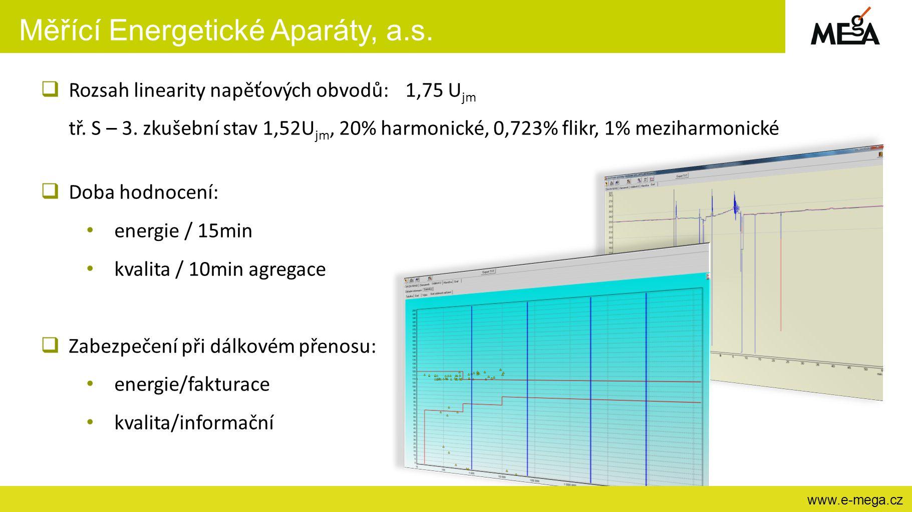 Měřící Energetické Aparáty, a.s. www.e-mega.cz  Rozsah linearity napěťových obvodů: 1,75 U jm tř. S – 3. zkušební stav 1,52U jm, 20% harmonické, 0,72