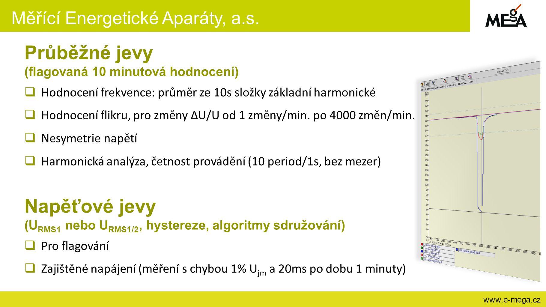 Měřící Energetické Aparáty, a.s. www.e-mega.cz Průběžné jevy (flagovaná 10 minutová hodnocení)  Hodnocení frekvence: průměr ze 10s složky základní ha