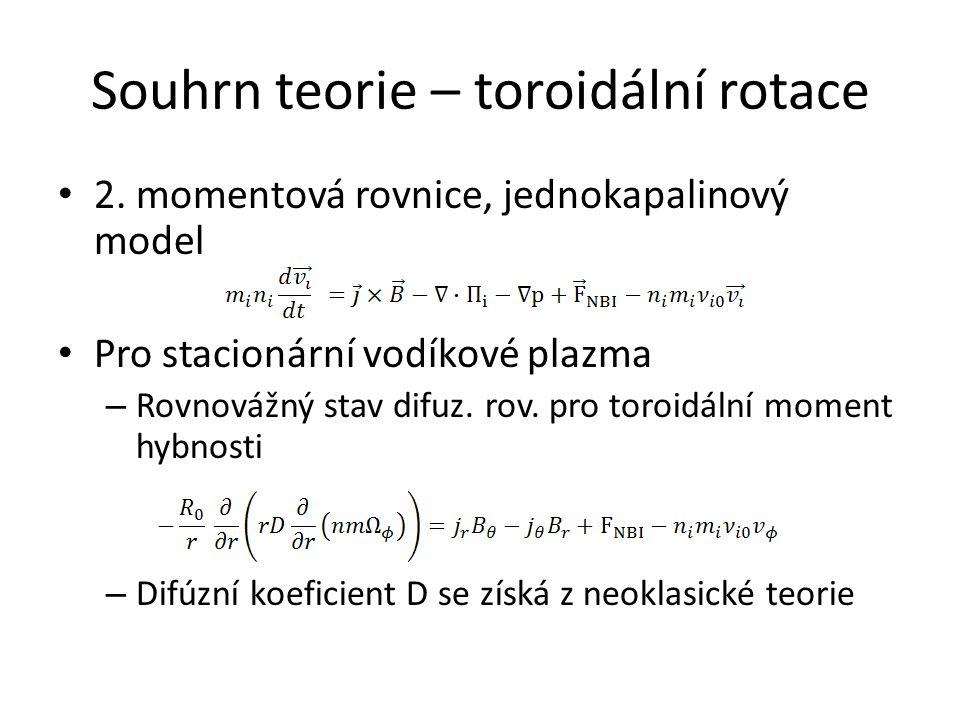 Souhrn teorie – toroidální rotace 2. momentová rovnice, jednokapalinový model Pro stacionární vodíkové plazma – Rovnovážný stav difuz. rov. pro toroid
