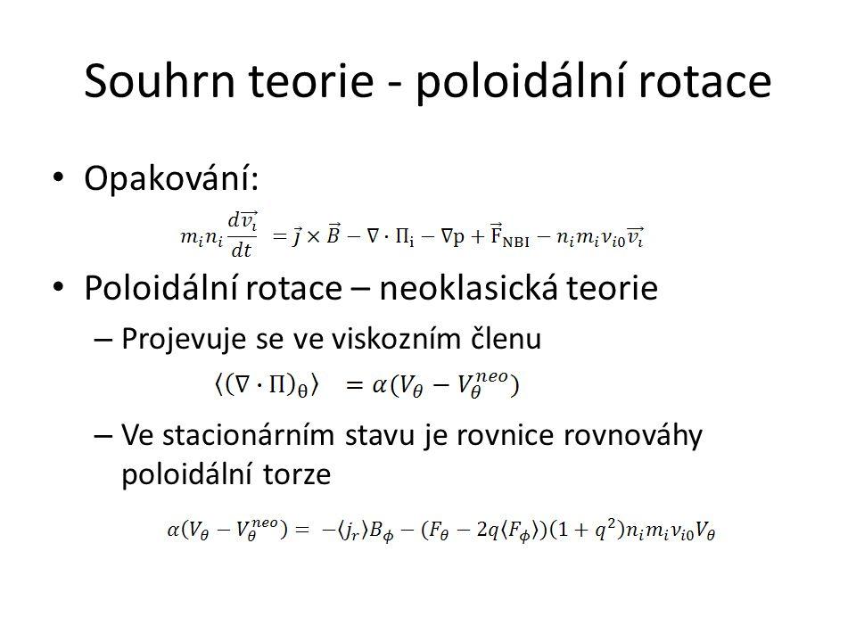 Souhrn teorie - poloidální rotace Opakování: Poloidální rotace – neoklasická teorie – Projevuje se ve viskozním členu – Ve stacionárním stavu je rovnice rovnováhy poloidální torze