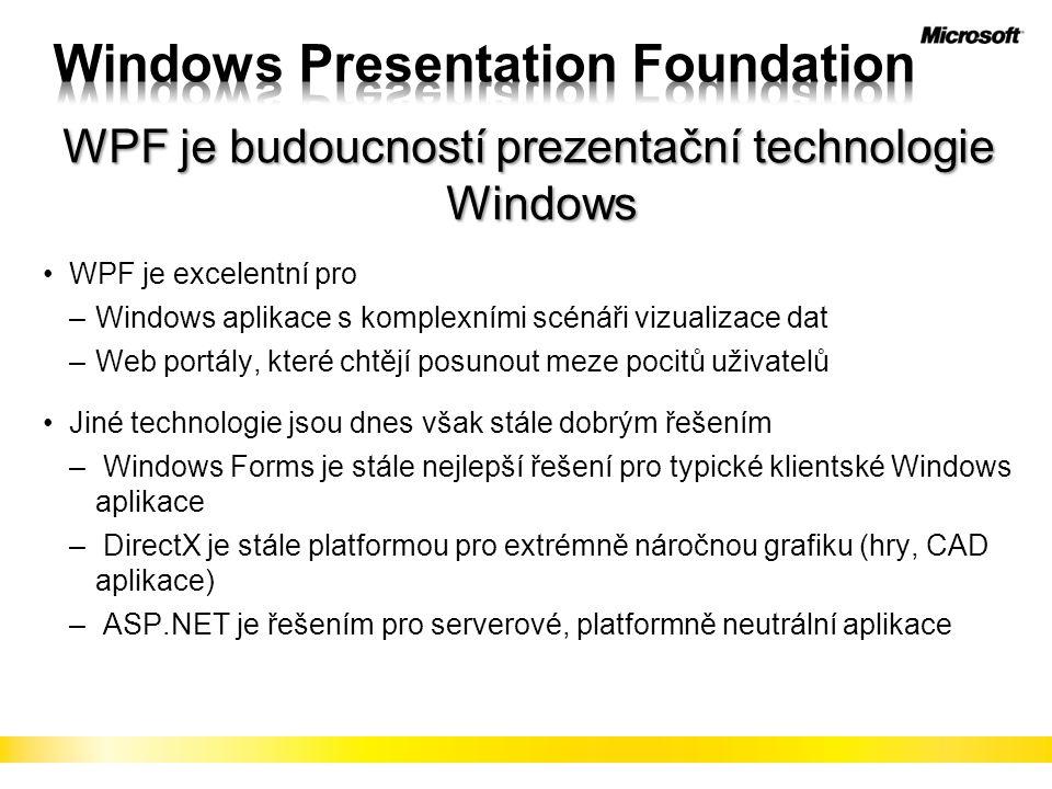 """38 Windows Presentation Foundation Obohacený prohlížeč Silverlight + AJAX XAML, řízený kód, JavaScript Libovolný prohlížeč AJAX Microsoft Web PlatformaMicrosoft UX technologie XAML, řízený kód XBAP XAML /.NET FX Vysoká kvalita a výkon Plná integrace s desktopem """"Za hranice prohlížeče Plná vývojová platforma XAML /.NET FX Grafika, média, animace Neutrální platforma Bezbariérová dostupnost Nízké latence, lepší UX Plná podpora standardů Dostupný Bohatý"""