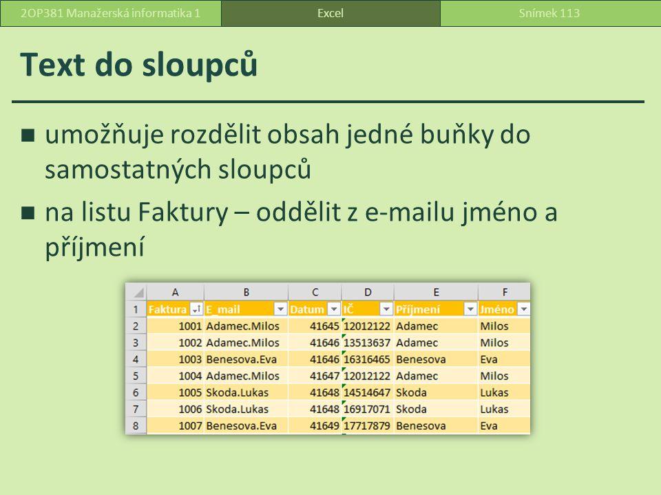 Text do sloupců umožňuje rozdělit obsah jedné buňky do samostatných sloupců na listu Faktury – oddělit z e-mailu jméno a příjmení ExcelSnímek 1132OP381 Manažerská informatika 1