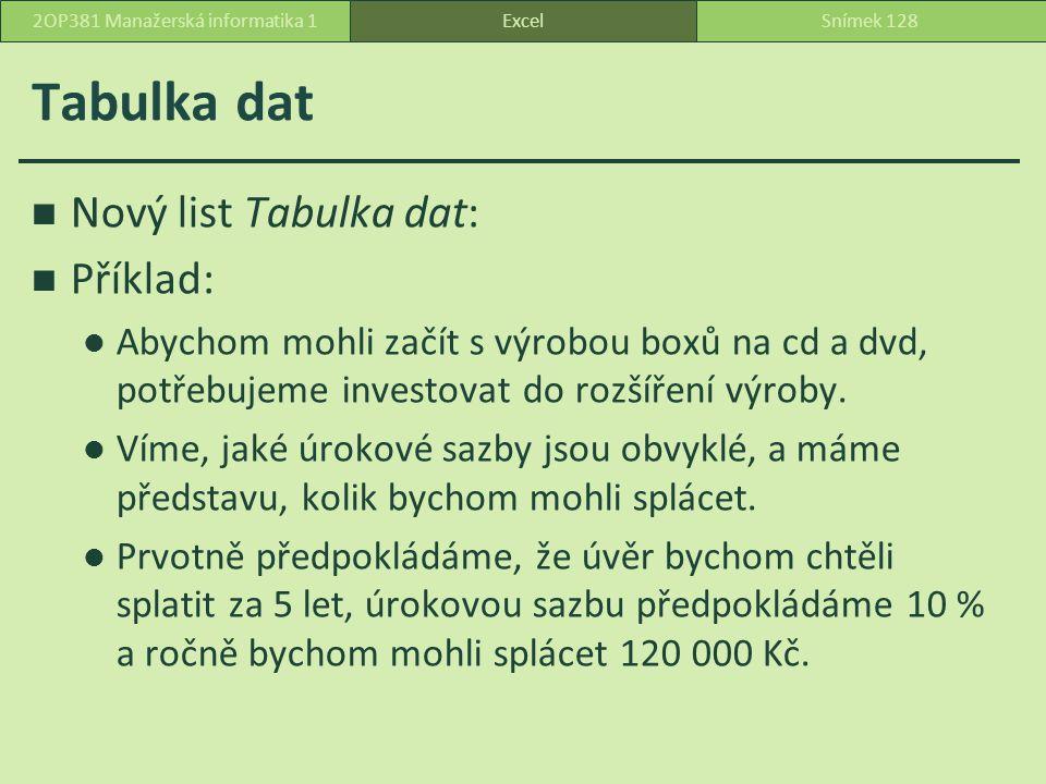 Tabulka dat Nový list Tabulka dat: Příklad: Abychom mohli začít s výrobou boxů na cd a dvd, potřebujeme investovat do rozšíření výroby.