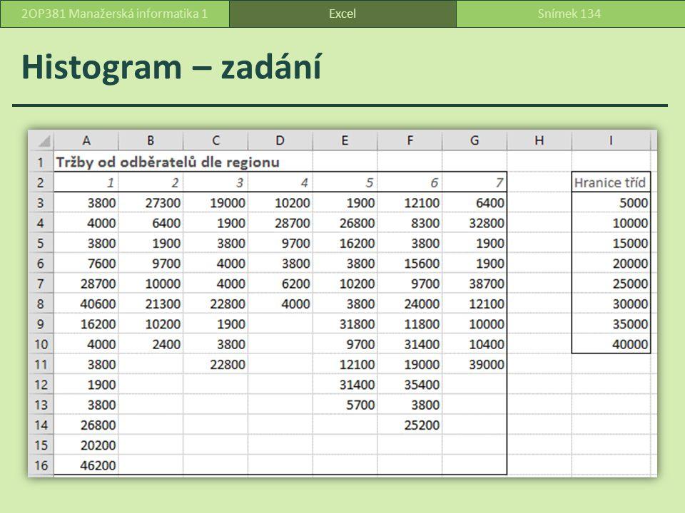Histogram – zadání ExcelSnímek 1342OP381 Manažerská informatika 1