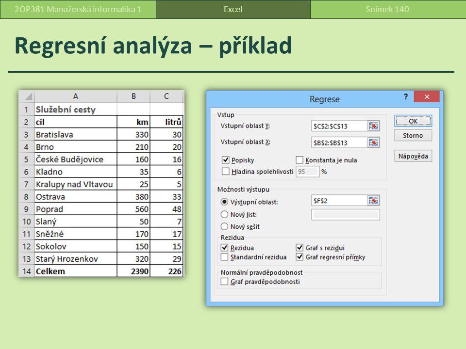 Regresní analýza – příklad ExcelSnímek 1402OP381 Manažerská informatika 1