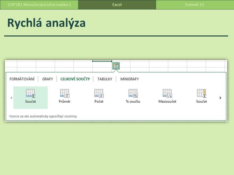 Rychlá analýza ExcelSnímek 152OP381 Manažerská informatika 1