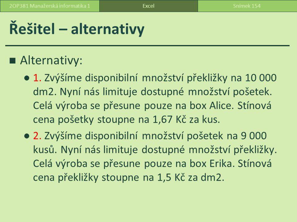 Řešitel – alternativy Alternativy: 1.Zvýšíme disponibilní množství překližky na 10 000 dm2.
