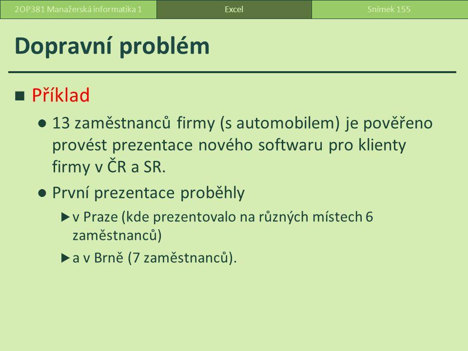 Dopravní problém ExcelSnímek 1552OP381 Manažerská informatika 1 Příklad 13 zaměstnanců firmy (s automobilem) je pověřeno provést prezentace nového softwaru pro klienty firmy v ČR a SR.