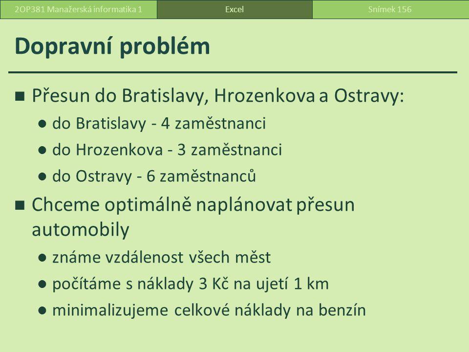 Dopravní problém ExcelSnímek 1562OP381 Manažerská informatika 1 Přesun do Bratislavy, Hrozenkova a Ostravy: do Bratislavy - 4 zaměstnanci do Hrozenkova - 3 zaměstnanci do Ostravy - 6 zaměstnanců Chceme optimálně naplánovat přesun automobily známe vzdálenost všech měst počítáme s náklady 3 Kč na ujetí 1 km minimalizujeme celkové náklady na benzín