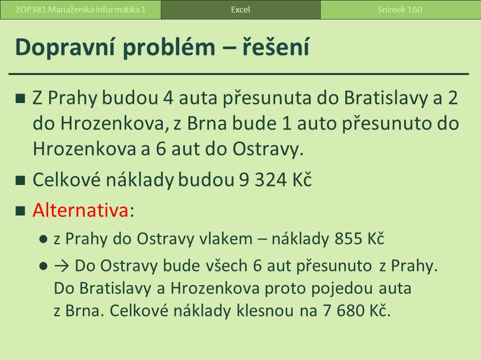 Dopravní problém – řešení Z Prahy budou 4 auta přesunuta do Bratislavy a 2 do Hrozenkova, z Brna bude 1 auto přesunuto do Hrozenkova a 6 aut do Ostravy.