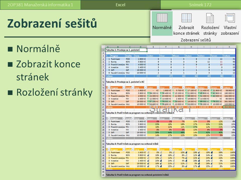 Zobrazení sešitů Normálně Zobrazit konce stránek Rozložení stránky ExcelSnímek 1722OP381 Manažerská informatika 1