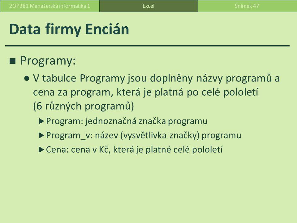 Data firmy Encián ExcelSnímek 472OP381 Manažerská informatika 1 Programy: V tabulce Programy jsou doplněny názvy programů a cena za program, která je platná po celé pololetí (6 různých programů)  Program: jednoznačná značka programu  Program_v: název (vysvětlivka značky) programu  Cena: cena v Kč, která je platné celé pololetí