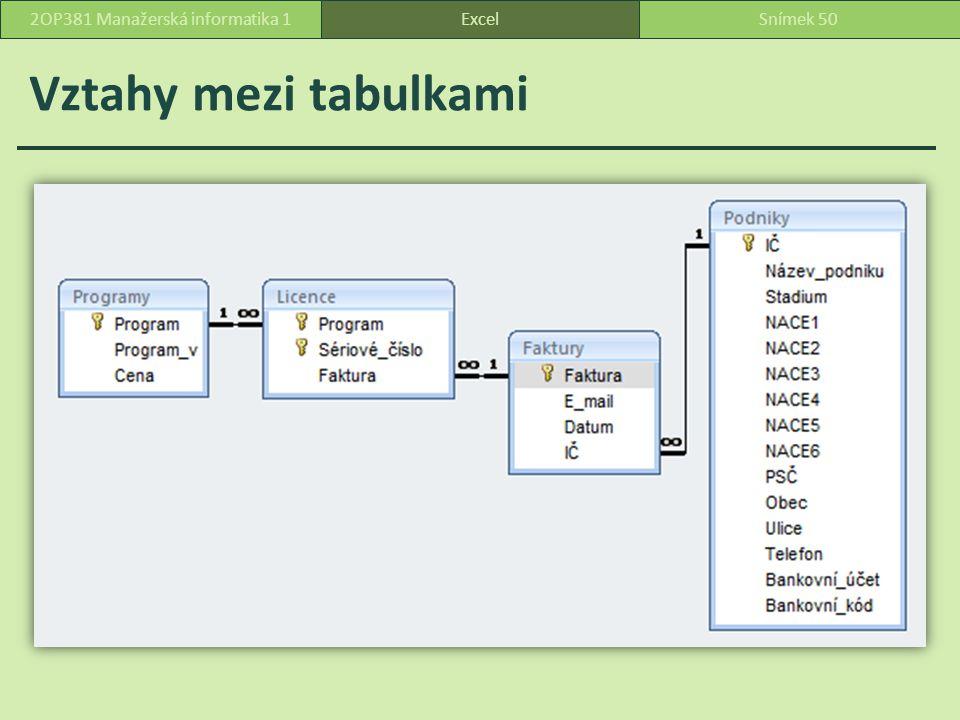 Vztahy mezi tabulkami ExcelSnímek 502OP381 Manažerská informatika 1