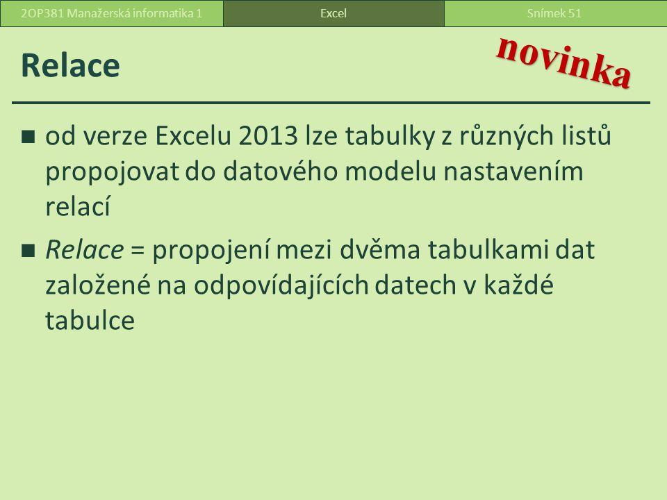 Relace od verze Excelu 2013 lze tabulky z různých listů propojovat do datového modelu nastavením relací Relace = propojení mezi dvěma tabulkami dat založené na odpovídajících datech v každé tabulce ExcelSnímek 512OP381 Manažerská informatika 1 novinka