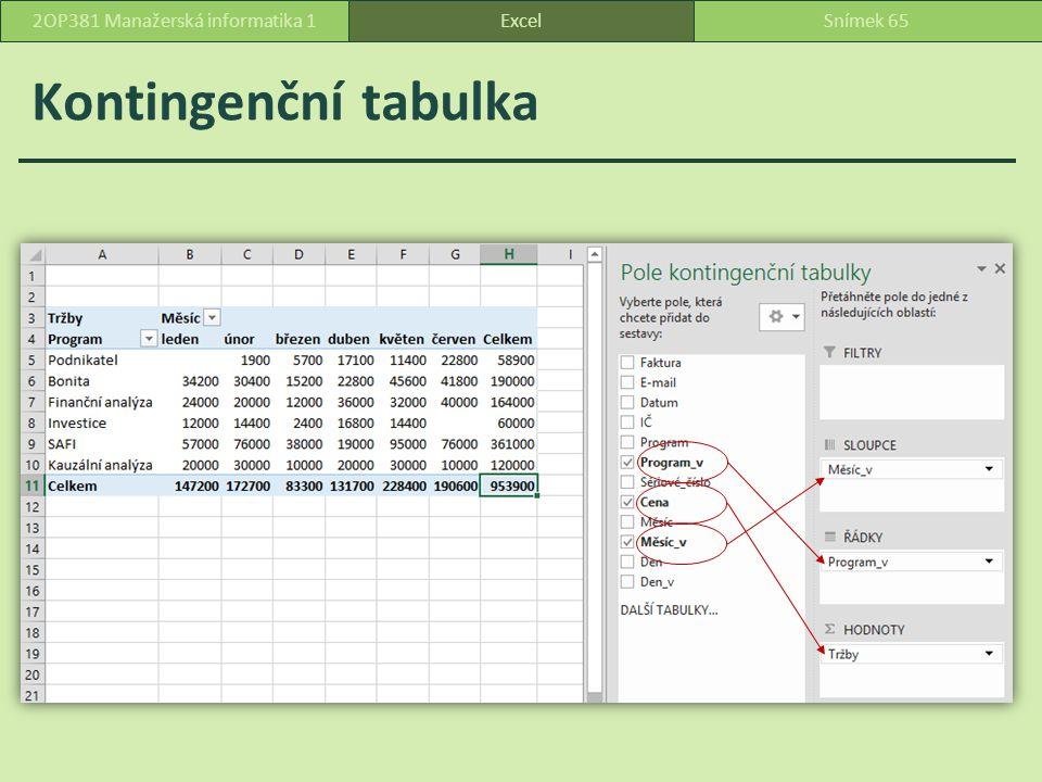 Kontingenční tabulka ExcelSnímek 652OP381 Manažerská informatika 1
