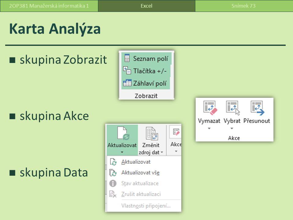 Karta Analýza skupina Zobrazit skupina Akce skupina Data ExcelSnímek 732OP381 Manažerská informatika 1