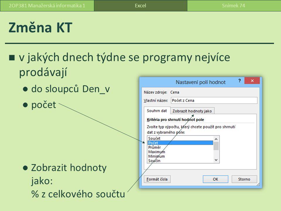 Změna KT v jakých dnech týdne se programy nejvíce prodávají do sloupců Den_v počet Zobrazit hodnoty jako: % z celkového součtu ExcelSnímek 742OP381 Manažerská informatika 1