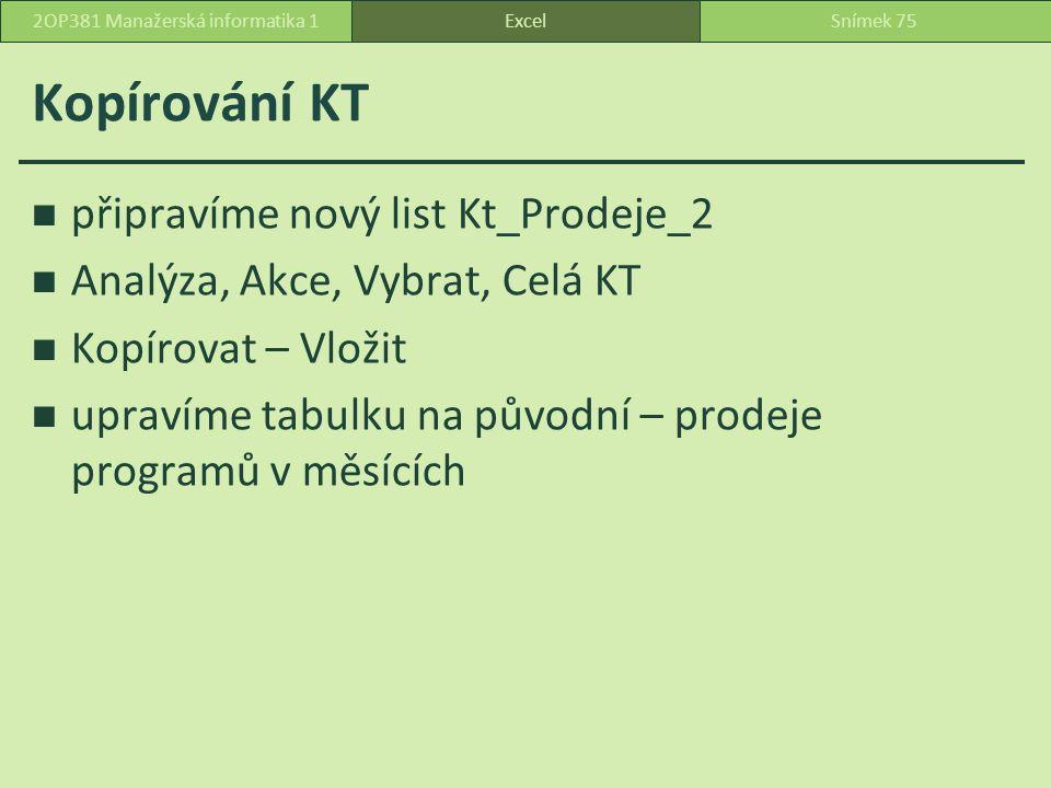 Kopírování KT připravíme nový list Kt_Prodeje_2 Analýza, Akce, Vybrat, Celá KT Kopírovat – Vložit upravíme tabulku na původní – prodeje programů v měsících ExcelSnímek 752OP381 Manažerská informatika 1