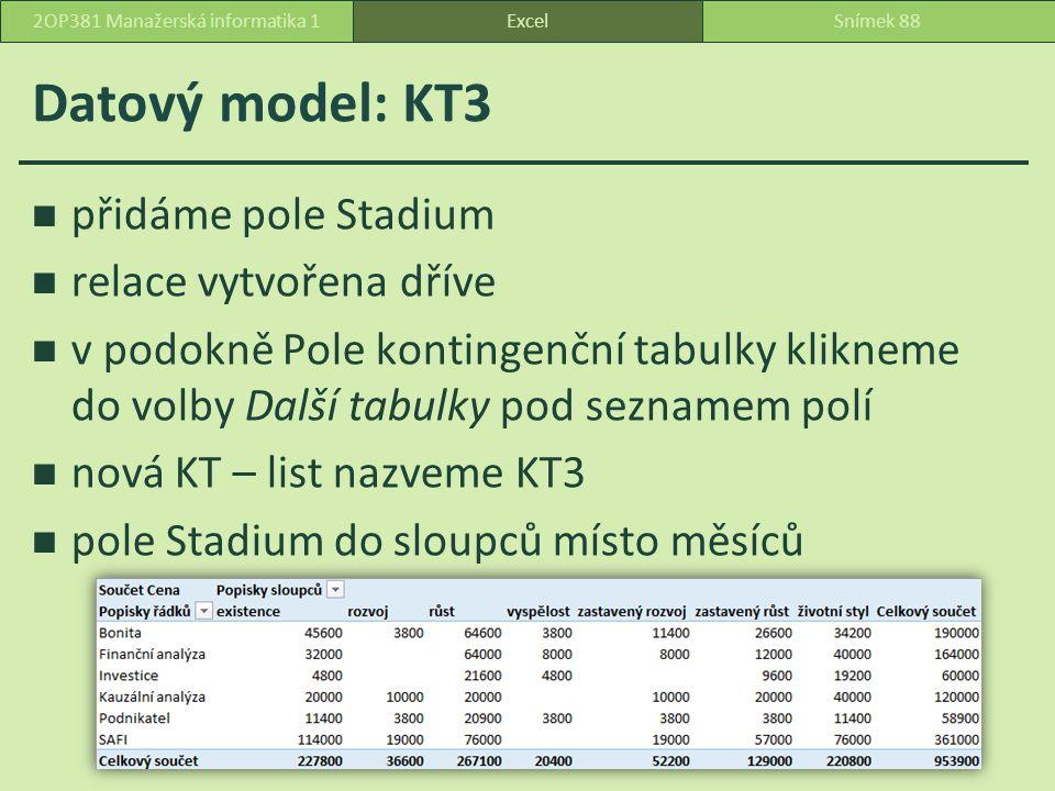 Datový model: KT3 přidáme pole Stadium relace vytvořena dříve v podokně Pole kontingenční tabulky klikneme do volby Další tabulky pod seznamem polí nová KT – list nazveme KT3 pole Stadium do sloupců místo měsíců ExcelSnímek 882OP381 Manažerská informatika 1