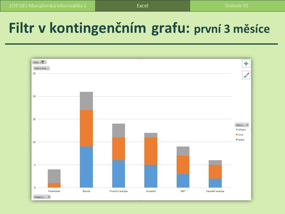 Filtr v kontingenčním grafu: první 3 měsíce ExcelSnímek 912OP381 Manažerská informatika 1