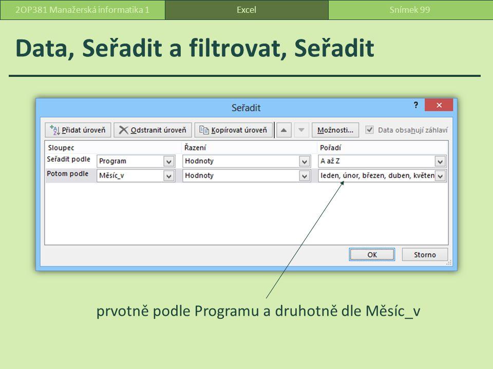 Data, Seřadit a filtrovat, Seřadit ExcelSnímek 992OP381 Manažerská informatika 1 prvotně podle Programu a druhotně dle Měsíc_v