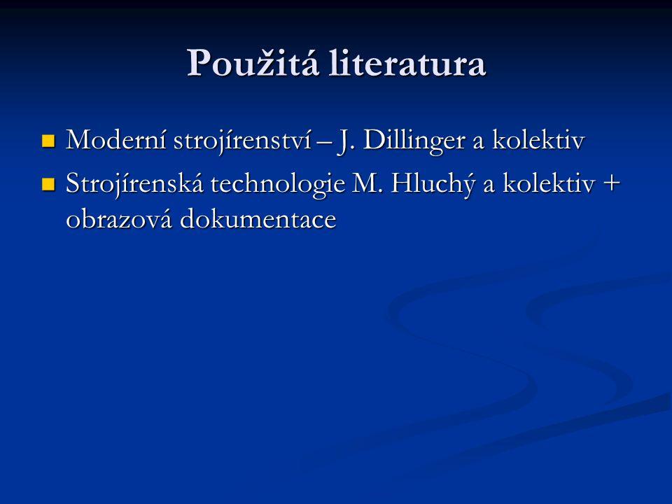 Použitá literatura Moderní strojírenství – J.Dillinger a kolektiv Moderní strojírenství – J.