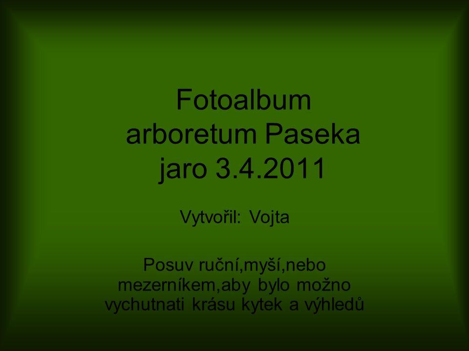 Fotoalbum arboretum Paseka jaro 3.4.2011 Vytvořil: Vojta Posuv ruční,myší,nebo mezerníkem,aby bylo možno vychutnati krásu kytek a výhledů