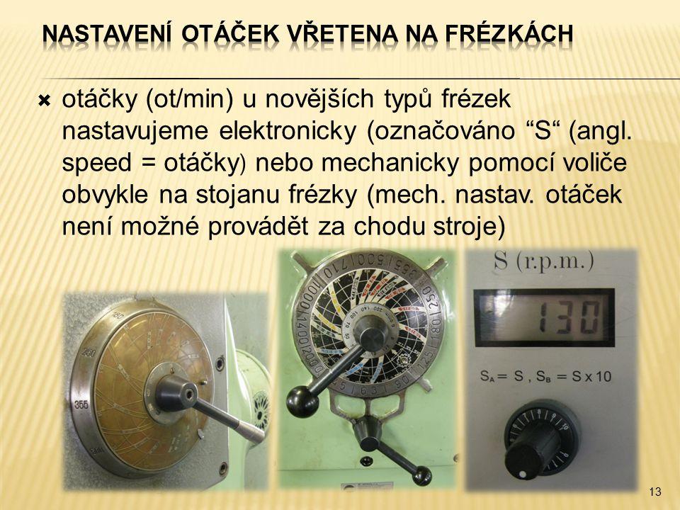 """ otáčky (ot/min) u novějších typů frézek nastavujeme elektronicky (označováno """"S"""" (angl. speed = otáčky ) nebo mechanicky pomocí voliče obvykle na st"""