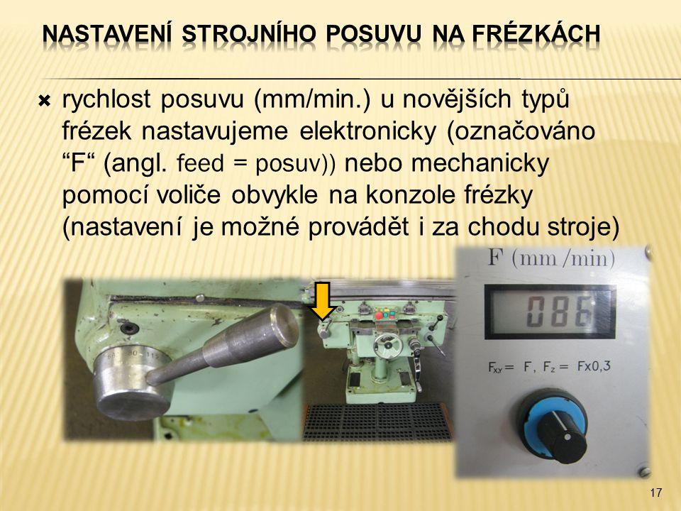 """ rychlost posuvu (mm/min.) u novějších typů frézek nastavujeme elektronicky (označováno """"F"""" (angl. feed = posuv)) nebo mechanicky pomocí voliče obvyk"""