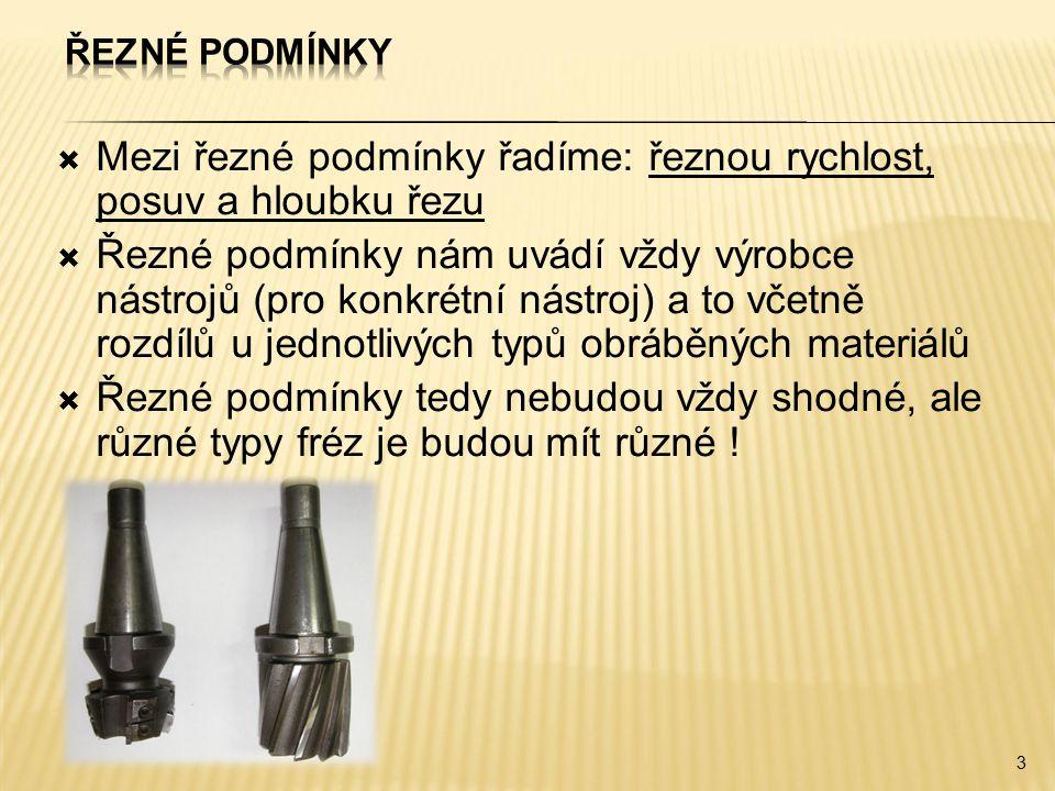  Mezi řezné podmínky řadíme: řeznou rychlost, posuv a hloubku řezu  Řezné podmínky nám uvádí vždy výrobce nástrojů (pro konkrétní nástroj) a to včet