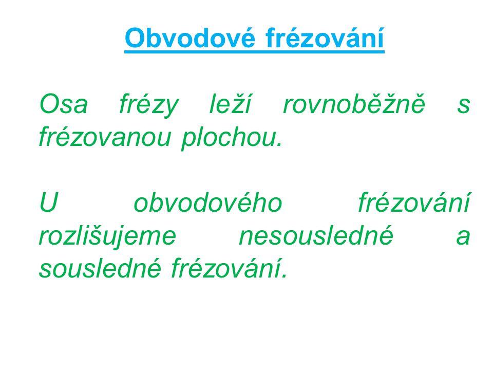 Obvodové frézování Osa frézy leží rovnoběžně s frézovanou plochou. U obvodového frézování rozlišujeme nesousledné a sousledné frézování.