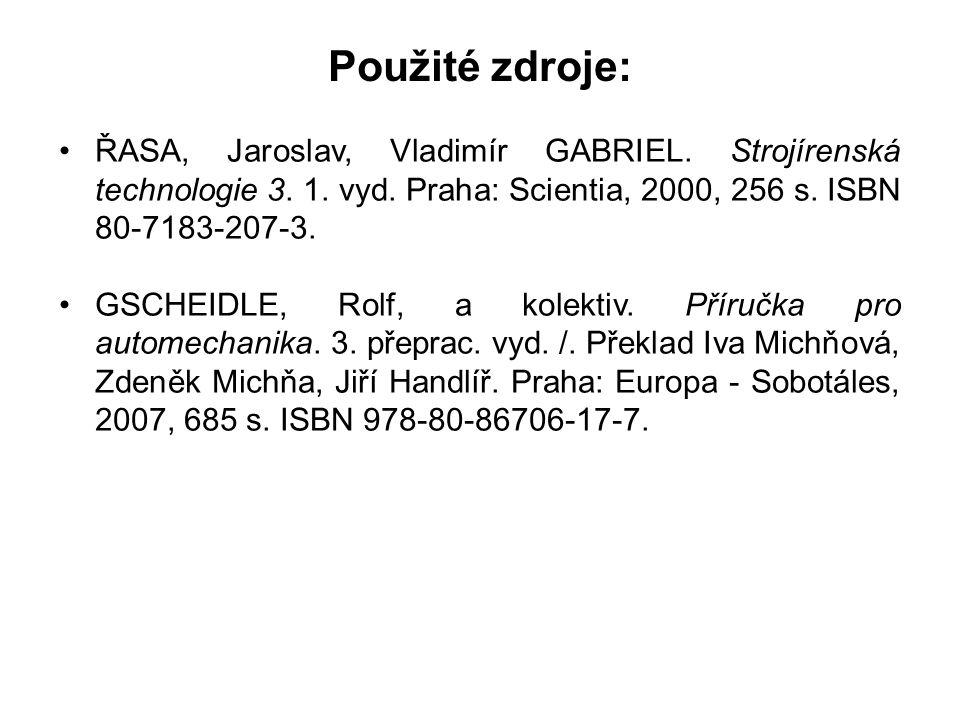 Použité zdroje: ŘASA, Jaroslav, Vladimír GABRIEL. Strojírenská technologie 3. 1. vyd. Praha: Scientia, 2000, 256 s. ISBN 80-7183-207-3. GSCHEIDLE, Rol