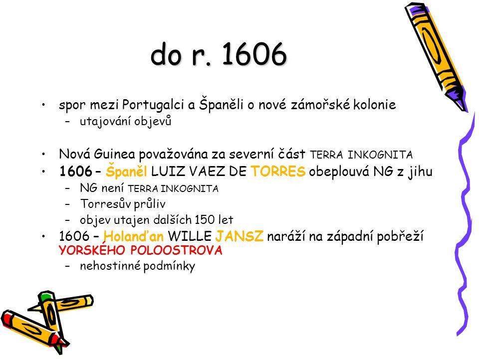 do r. 1606 spor mezi Portugalci a Španěli o nové zámořské kolonie –utajování objevů Nová Guinea považována za severní část TERRA INKOGNITA 1606 – Špan