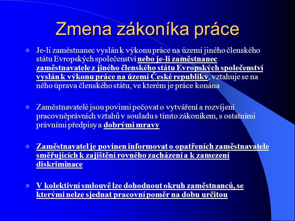 Zmena zákoníka práce Je-li zaměstnanec vyslán k výkonu práce na území jiného členského státu Evropských společenství nebo je-li zaměstnanec zaměstnavatele z jiného členského státu Evropských společenství vyslán k výkonu práce na území České republiky, vztahuje se na něho úprava členského státu, ve kterém je práce konána Zaměstnavatelé jsou povinni pečovat o vytváření a rozvíjení pracovněprávních vztahů v souladu s tímto zákoníkem, s ostatními právními předpisy a dobrými mravy Zaměstnavatel je povinen informovat o opatřeních zaměstnavatele směřujících k zajištění rovného zacházení a k zamezení diskriminace V kolektivní smlouvě lze dohodnout okruh zaměstnanců, se kterými nelze sjednat pracovní poměr na dobu určitou