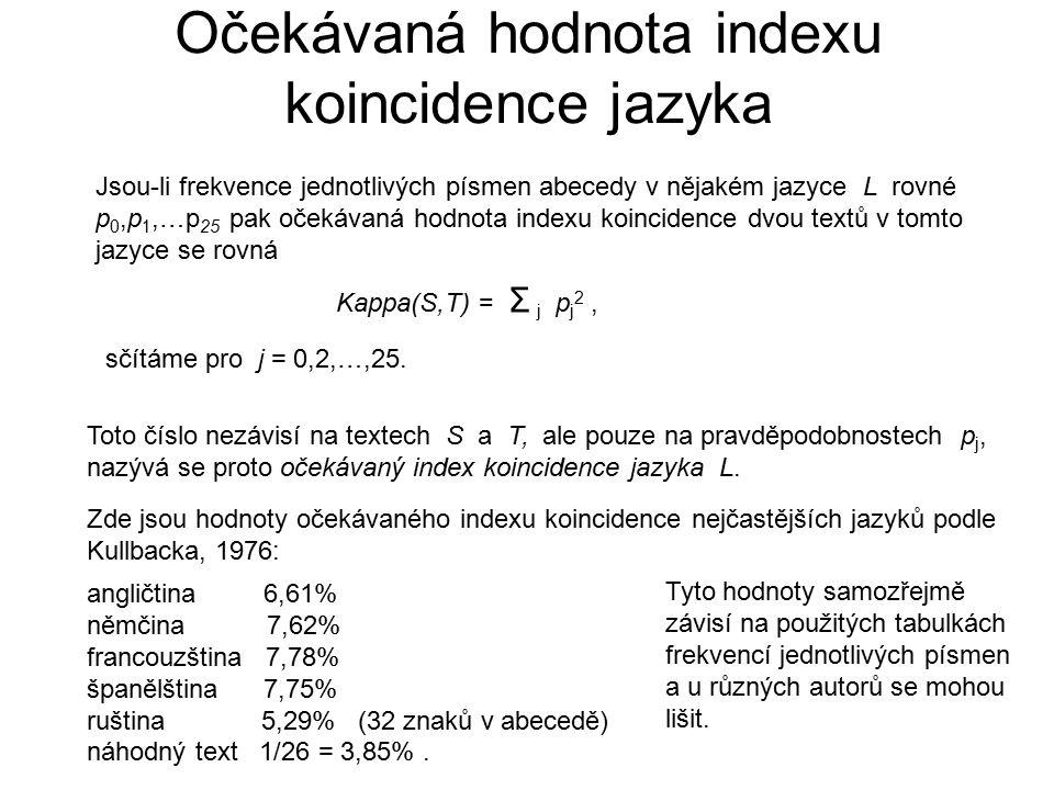 Očekávaná hodnota indexu koincidence jazyka Jsou-li frekvence jednotlivých písmen abecedy v nějakém jazyce L rovné p 0,p 1,…p 25 pak očekávaná hodnota