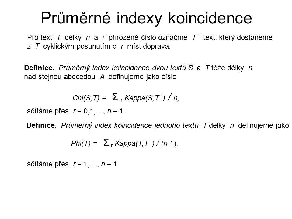 Průměrné indexy koincidence Pro text T délky n a r přirozené číslo označme T r text, který dostaneme z T cyklickým posunutím o r míst doprava. Definic