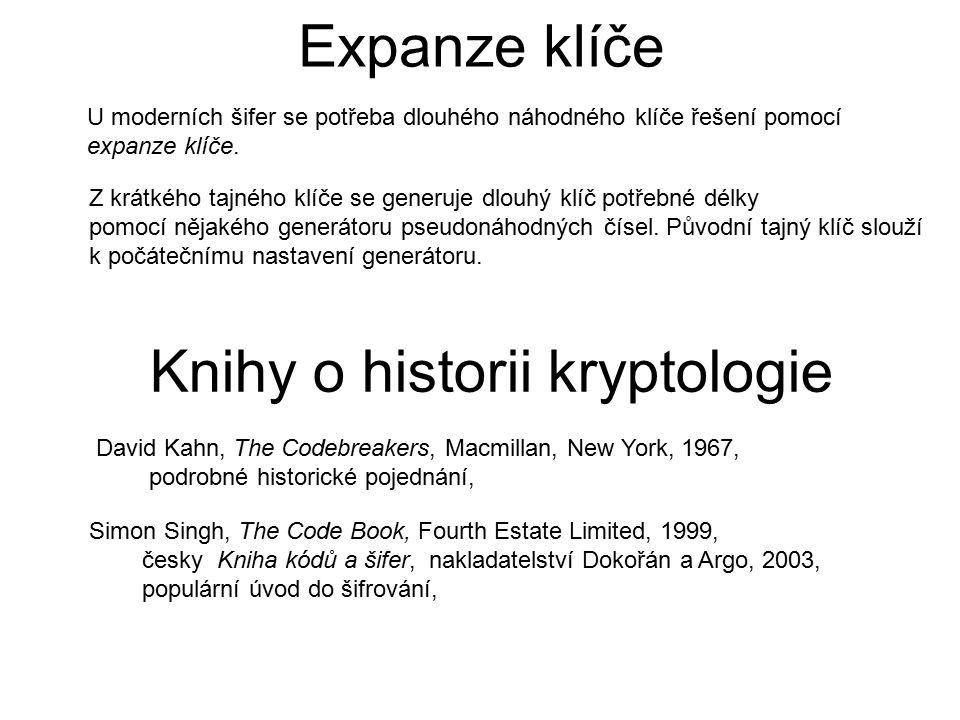 Expanze klíče U moderních šifer se potřeba dlouhého náhodného klíče řešení pomocí expanze klíče. Z krátkého tajného klíče se generuje dlouhý klíč potř