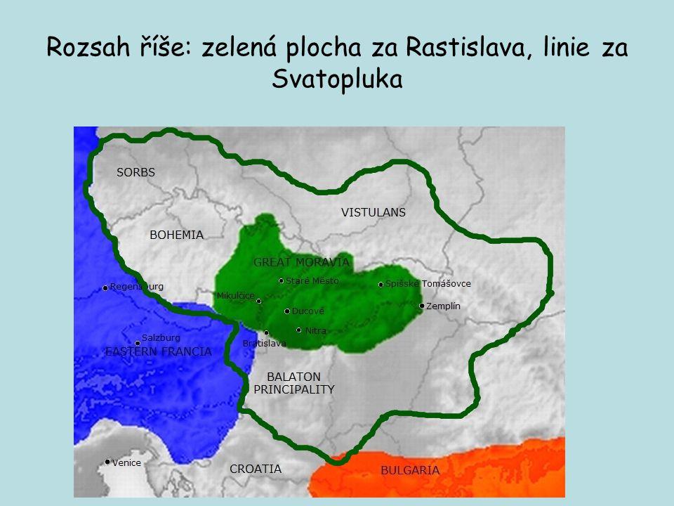 Osud Velké Moravy Po Svatoplukově smrti 894 - období vnitřní nejednoty- říše se rozpadá v důsledku mocenských sporů (dva synové- Mojmír II.