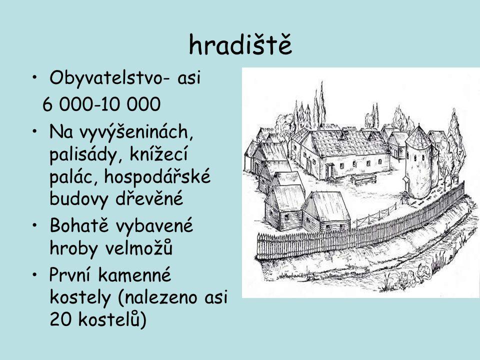 hradiště Obyvatelstvo- asi 6 000-10 000 Na vyvýšeninách, palisády, knížecí palác, hospodářské budovy dřevěné Bohatě vybavené hroby velmožů První kamenné kostely (nalezeno asi 20 kostelů)