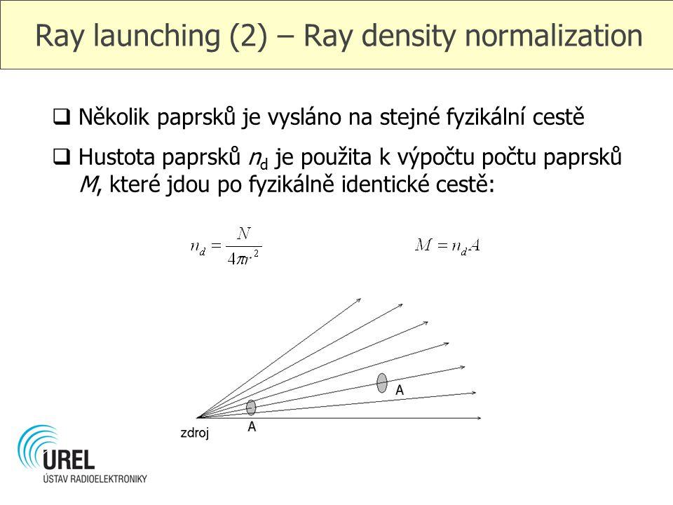 Ray launching (2) – Ray density normalization  Několik paprsků je vysláno na stejné fyzikální cestě  Hustota paprsků n d je použita k výpočtu počtu